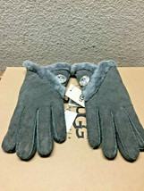 UGG WOMEN BAILEY BLING GREY SHEEPSKIN CUFF SUEDE GLOVES sz S - NWT - $92.57