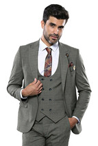 Men Three Piece Suit WESSI by J.VALINTIN Extra Slim Fit JV34 Olive green... - $99.97