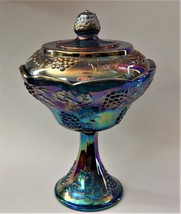 Indiana Carnival Glass Iridescent Amethyst Blue Harvest Grape Compote Ca... - $59.39