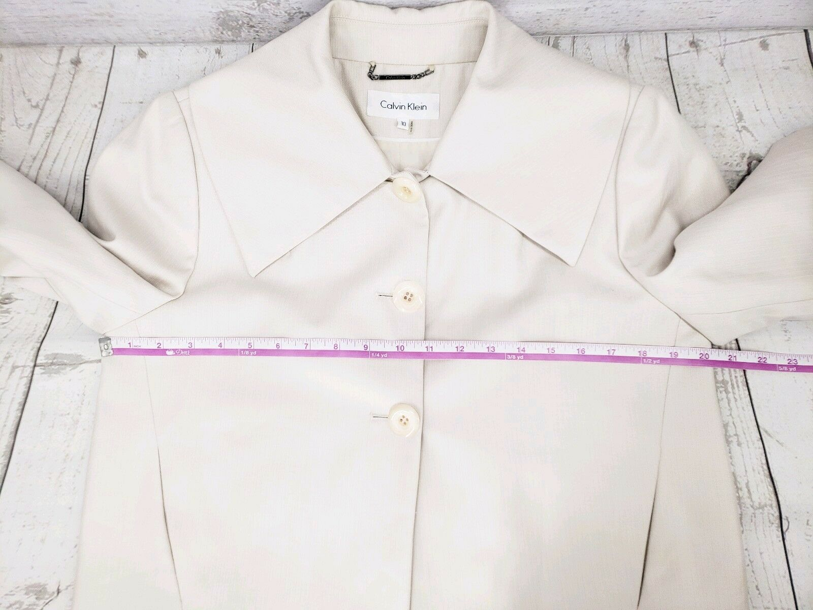 Calvin Klein Bolero Jacket Sz 10 Women Ivory 3/4 Sleeve Pleated Blazer
