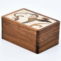 Northwoods Wooden Parquetry Hummingbird Bird at Flower Mini Trinket Box image 3