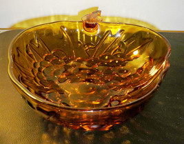 Vintage Large Amber Indiana Glass Bowl- Grape Cluster Pattern - $9.00