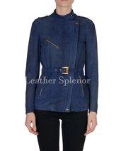 Asymmetrical Zipper Suede Leather Coat