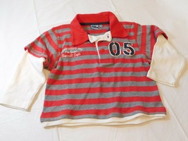 SB Scamps & Boys Long Sleeve Polo Shirt 92/98 Striped Red Heather Grey Off White - $16.03