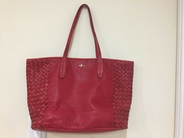Cole Haan Tote Red Leather Woven Leather Basket Weave Sides - $59.40