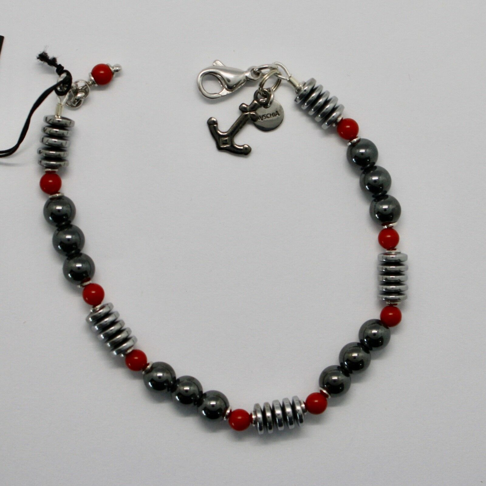 Bracelet en Argent 925 avec Corail Ed Hématite BLE-3 Fabriqué Italie By Maschia image 2