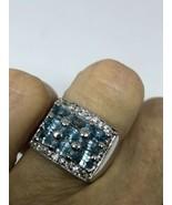 Deco Genuine Blue Topaz Vintage 925 Sterling Silver Size 6.5 Ring - $100.24