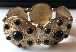 Gold Color Disc Black Beaded Chunky Stretch Bracelet Womens Fashion Jewelry - $9.49
