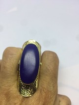 Handmade Tribal Tibet Dyed Lapis Lazuli Adjustable Brass Poison Box Ring - $94.05