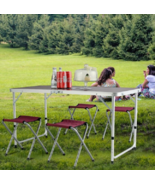 Camping Table Chairs Aluminum Folding Tables Portable Outdoor Camp 4 Cha... - $84.09