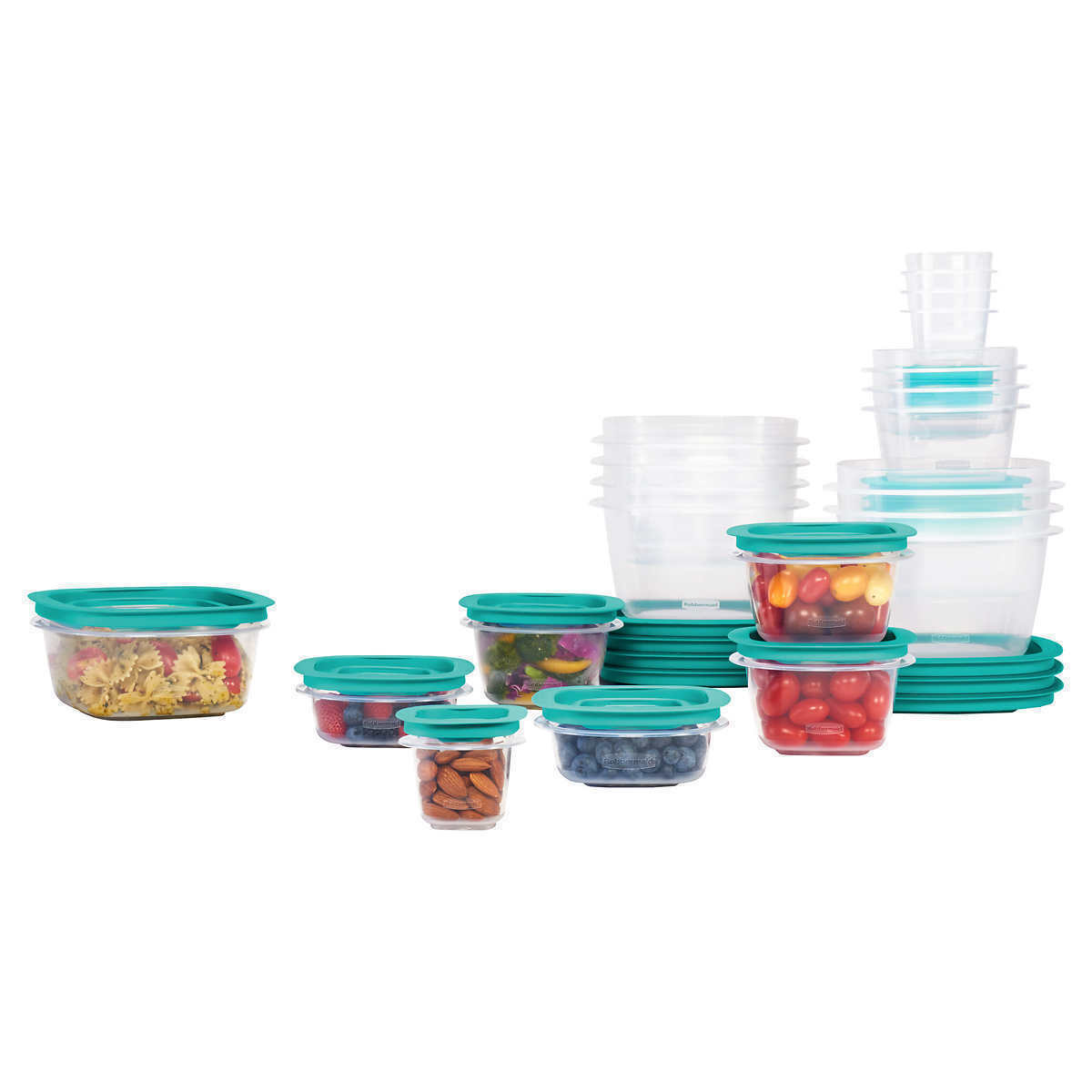 42-Piece Set Press & Lock Easy Find Lids Food Storage Containers, Teal, BPA-free - $30.68