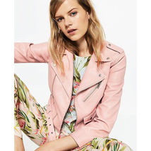 New Queen pink Notched Collar Women's Short Length Motorcycle Biker Jackets - $139.99