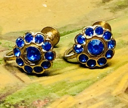 VTG 30s/40s Art Deco Brass Royal Blue Rhinestone Cluster Round Screw Bk ... - $24.00