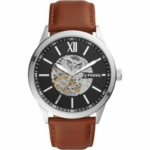 BRAND NEW! FOSSIL BQ2386 FLYNN AUTOMATIC BROWN LEATHER SKELETON MENS WATCH - $168.29