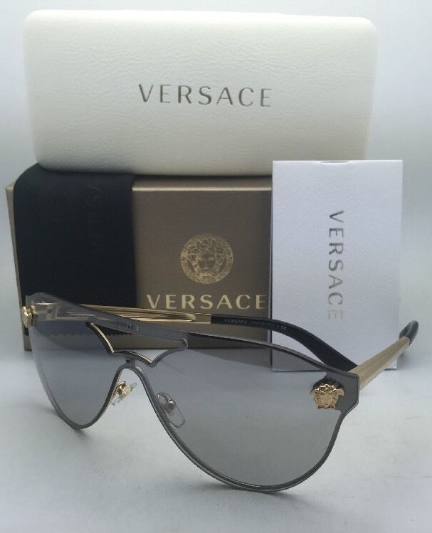 f4775dd574329 57. 57. New VERSACE Sunglasses VE 2161 1002 6G Gold   Black Frames w  Grey+  · New VERSACE Sunglasses ...