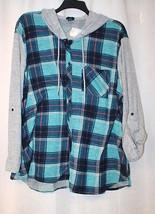 New Womens Plus Size 3X Aqua Teal Hooded Plaid Hacci Blocked Shirt Button Down - $19.34