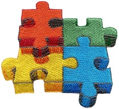 Jigsaw puzzle embroidered applique iron-on patch S-1530 - $2.95