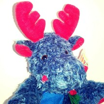 Kellytoy Christmas Moose Stuffed Plush Toy Navy Blue Red Accents Scarf NWT - $11.90