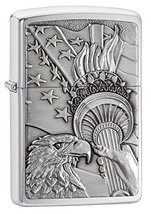 Zippo Patriotic Eagle Brushed Chrome Emblem Pocket Lighter, One Size, Mo... - $36.58