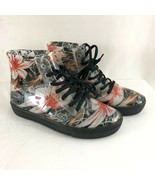 Chemistry Womens Combat Boots Rubber Lace Up Floral Black Pink Size 8 - $24.18
