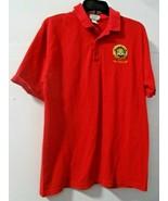 FBI Department of Justice Emblem Dallas Mens Polo Shirt Medium Red Short... - $27.71