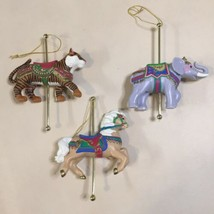 3 Avon Gifts Carousel Christmas Ornament Circus Horse & Elephant & Tiger   - $9.89