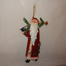 "Santa Claus Metal Ornament 5""  Holding Christmas Tree Holly Berries - $8.99"