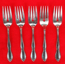 5X Salad / Dessert Forks Oneida Chatelaine Stainless Glossy Flatware 6 1... - $45.54