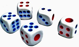 100 Pack 15mm White Common Plastic Dice Six Sided Spot Dice Casino Dice - $11.00