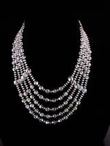 Vintage 5 strand necklace - statement aurora borealis choker - Vintage s... - $125.00