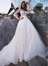 Sexy Long Sleeve Top Lace Appliques  A-Line Bridal Dresses + Plus Sizes image 3