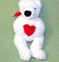 "TY Vintage ROMEO Teddy Bear 1997 White Plush Red Heart & Ribbon 14"" Stuffed Toy - $14.01"