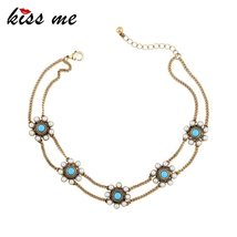 KISS ME Simulated Pearls Flowers Choker 2017 New Antique Gold Color Vintage Chok - $11.90