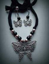 Indian Gorgeous Silver Plated with BlacK Pearl Butterfly Design JewelrySet - $19.79