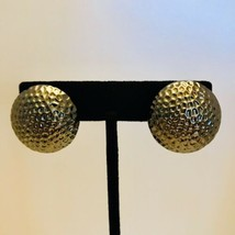 "Vintage Large 1"" Hammered Gunmetal Raised Dome Button Clip Earrings J6506 - $9.49"