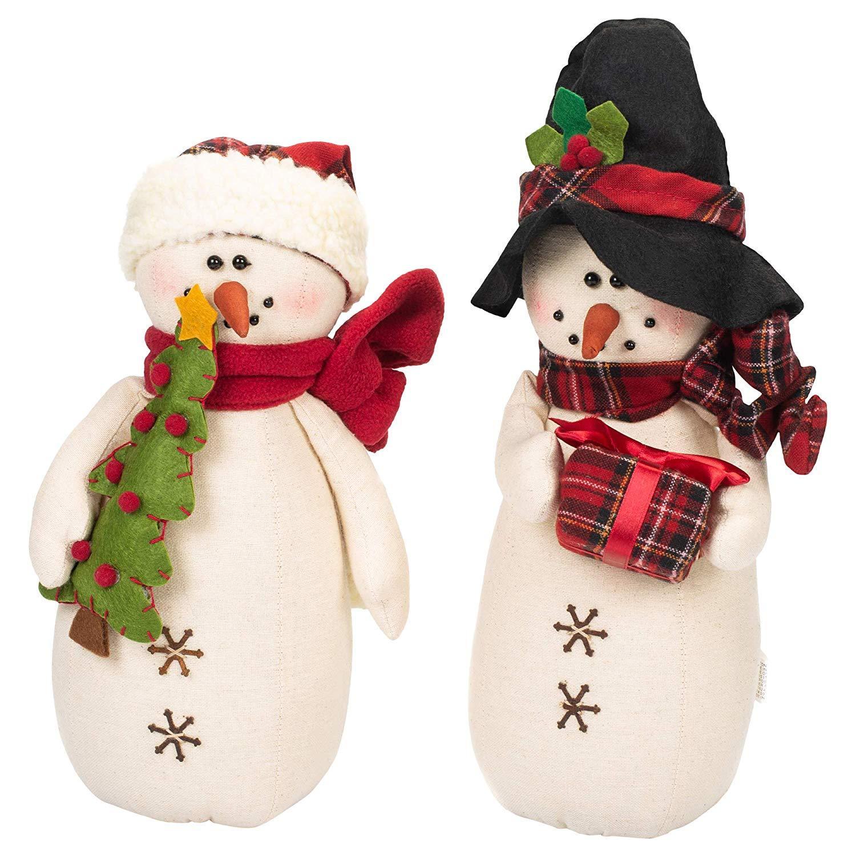 Delton 11.5 Inches Tartan Snowman Stump,Set of 2, 5565-2