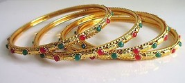 Indian Traditional Gold Tone 4 PS Bangles Set Women's Wedding Ethnic Jewelry 2.8 - $9.89