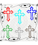 Color Cross 2-Digital Clipart-Gift Tag-Jewelry-T shirt-Notebook-Scrapbook. - $3.99