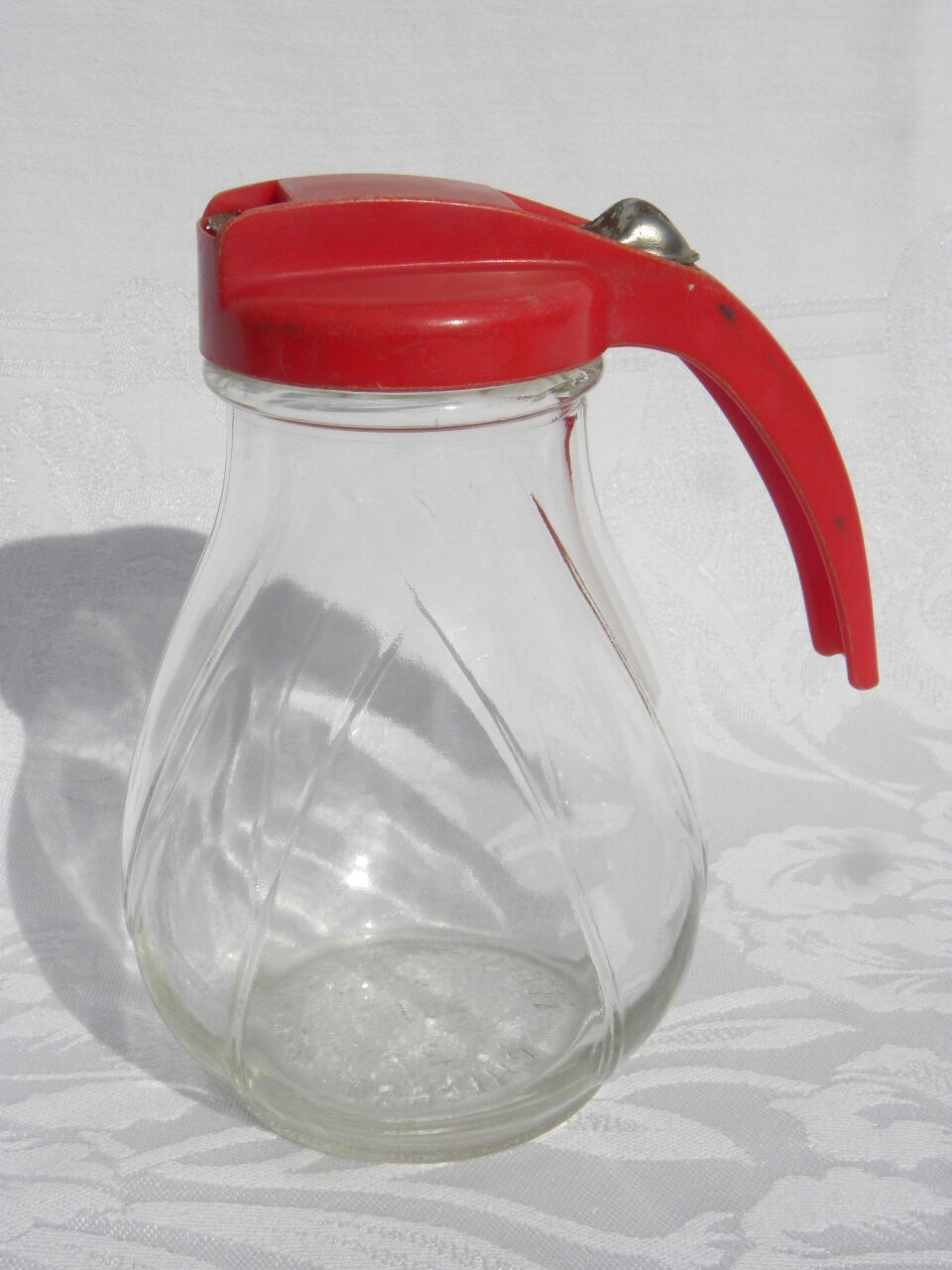 Vintage Hazel Atlas Federal Tool Corp. Glass Syrup Pitcher w/Red Plastic Lid - $7.99