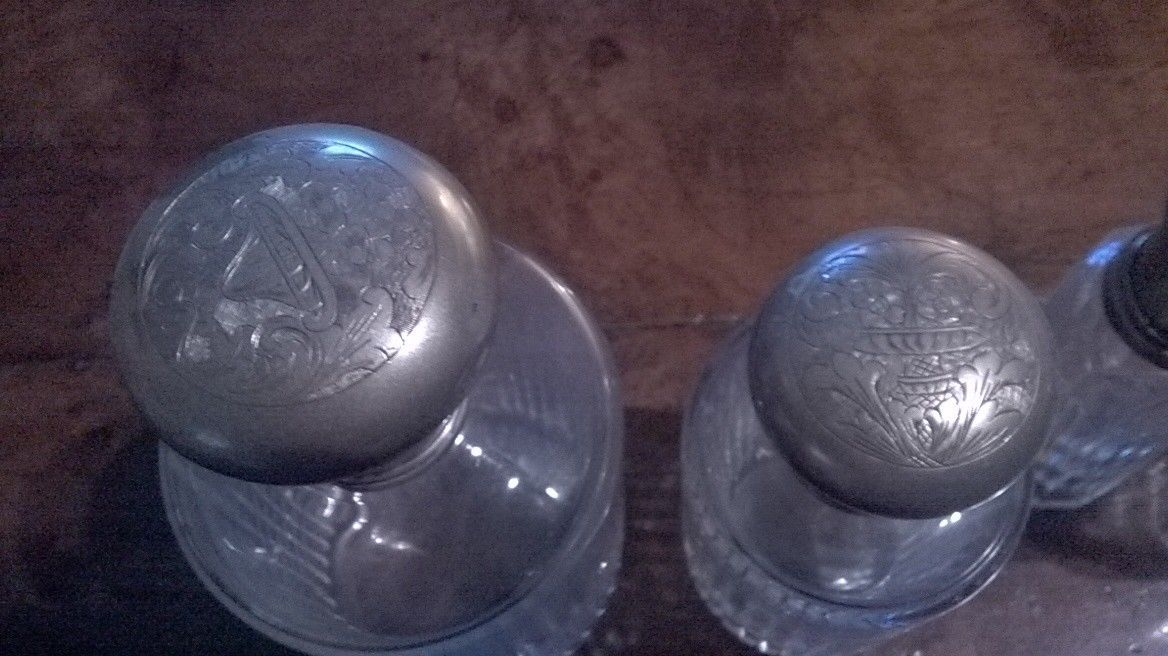 Perfume bottles vintage.Collection 4 pieces.SILVER CUP.