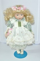 Vintage Porcelain MARIAN YU 16'' Victorian Doll 7/3000 Blond Curls Box s... - $18.76