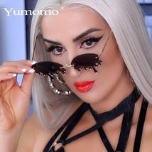 New Fashion Rimless Sunglasses Women Vintage Unique Tears Shape Steampunk Sungla
