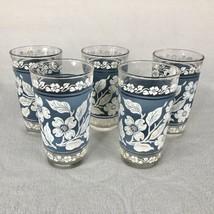 5 Hazel Atlas Wedgwood Blue Dogwood Glasses Tumbler Drinking Glassware 1... - $24.70