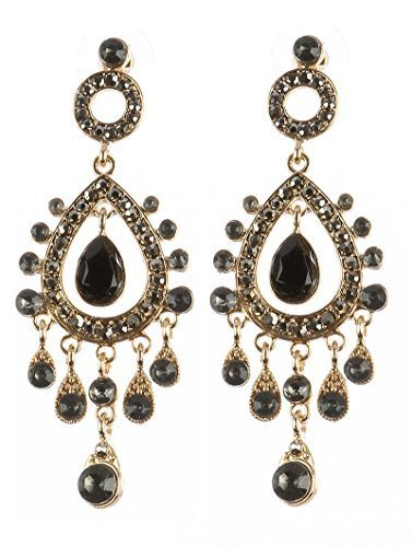 Chandelier Glass Stone Dangle Earrings (Black)