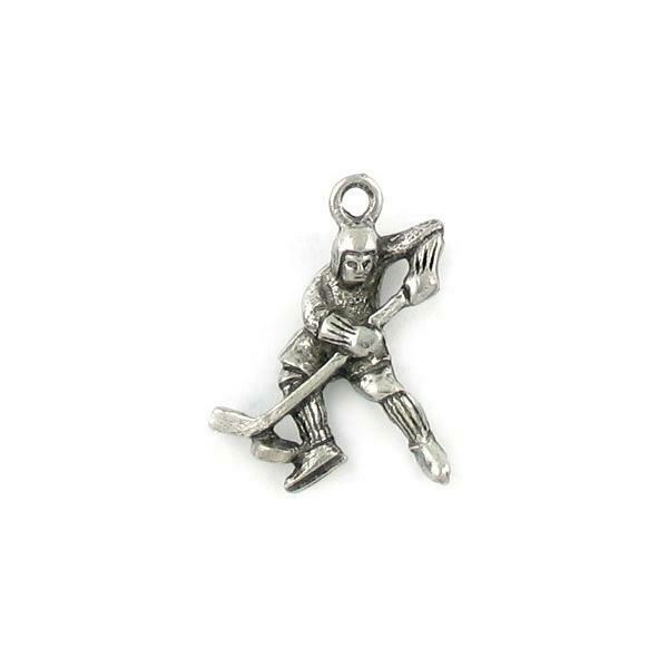 HOCKEY PLAYER FINE PEWTER PENDANT CHARM - 18mm L x 24mm W x 5mm D