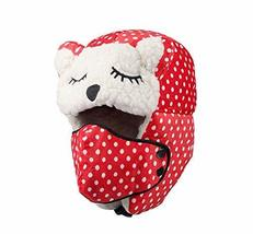 PANDA SUPERSTORE [RED Dots] Comfortable Warm Earflap Winter Skiing Hats, 4-12 Ye