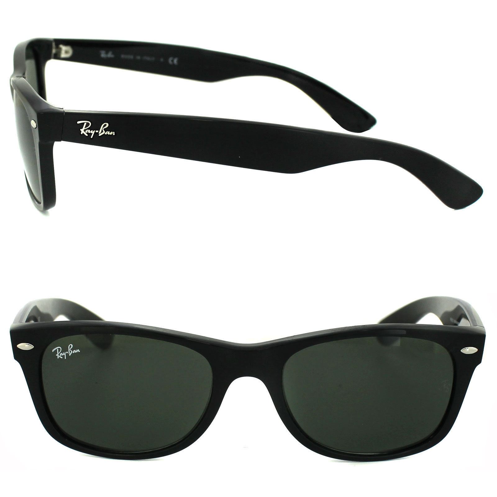 Primary image for New RAY-BAN new Wayfarer RB 2132 901 Polished Black w/G-15 Green 52 mm