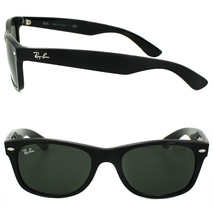 New RAY-BAN new Wayfarer RB 2132 901 Polished Black w/G-15 Green 52 mm - $165.55