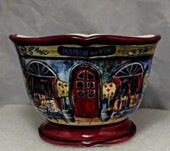 "Kate McRostie 4""X 5 5/8"" Blue bowl Maison Du Vin for Certified Internati... - $8.86"