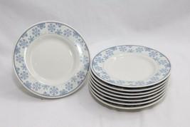 "Oneida Frosty Blue Snowflake Xmas Dessert Bread Plates 6.5"" Set of 12 - $56.83"